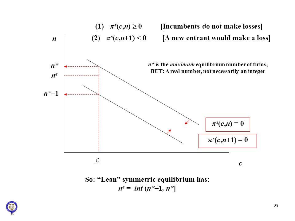 (1) p s(c,n)  0 [Incumbents do not make losses]